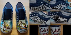 Calvin and Hobbes Shoes by aarontheawesome