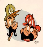 Mario Bros. Heads by Themrock