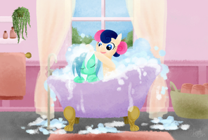 Lyra and Bon Bon - Bubble bath by CherryPaintPony