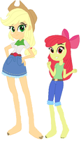 Equestria Girls Applejack and Apple Bloom by ChipmunkRaccoon2