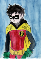 Damian Wayne...  and Watercolors by ZSeibar
