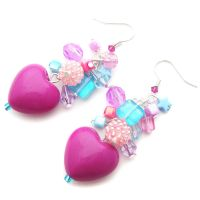 Purple Heart + Charm Earrings by fairy-cakes