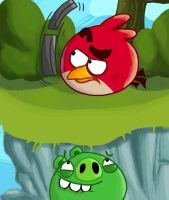 Red plays Angry Birds by Creeperchild