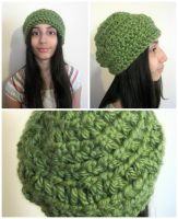 Crocheted Ribbed Forest Green Slouch Hat-FOR SALE by graffitica