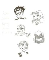 Teen Titans_Busts_Lineart by Ila-Mae