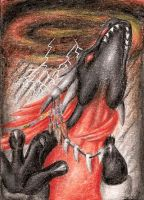 ACEO Drakontas - The shamanism by ElorenLeianor