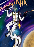 Murdoc and 2D IN SPACE by SinisterTomato