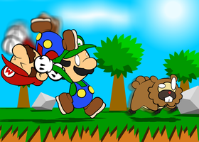 Luigi attacks a Bidoof... by NWinmore