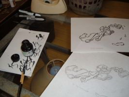 Light tracing table with work by Antiquity-Varmint