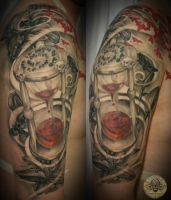 Blood clock skull lily healed by 2Face-Tattoo