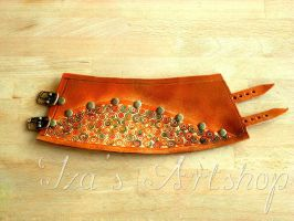 Hand-painted Orange Leather Cuff by izasartshop