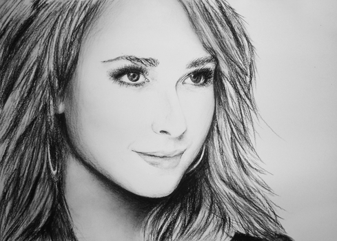 Hayden Panettiere Portrait Drawing Charcoal by darrenOhhh