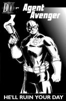 Agent Avenger Cover black and white by wildcats25