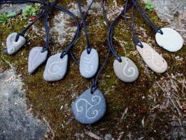 Stone Glyph Pendants by savagedryad