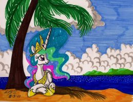 Celestia relaxes at the beach. by newyorkx3