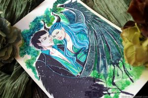 Wip: Maleficent and Diaval by Kimir-Ra