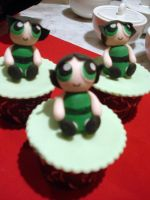 Powerpuff Buttercup Cupcakes by Sliceofcake
