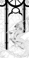 Stained Glass Dragon Lineart by XRosewaterX