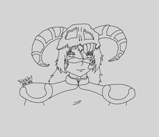 Nelliel penned out in Gimp Shoulders Up by TatterTotMinion