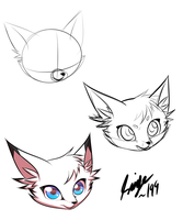 Cartoon cat head process by Saige199