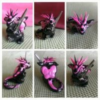 Baby Spiky Dragon with Sword Pink and Black by KarolinaSkaUniverse