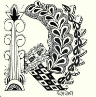 K Zentangle 4-20-14 0001 by wiccanwitchiepoo