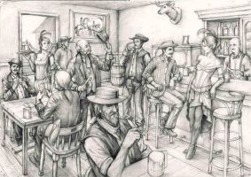 Cowboy Saloon sketch by johnnugroho