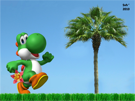 Yoshi and his flower by Sintonio