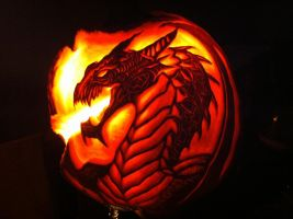 Dragon Pumpkin Carving by wilderflower