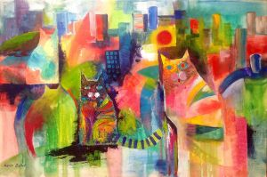 Abstract with cats by karincharlotte