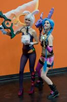Battle Bunny Riven and Jinx at Gamescom 14 by DaniStormbornCosplay