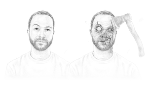 Zombie Portrait 2 (pencils) by LogicalOperator
