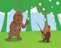 Chewie and Wickett Blowing Bubbles by NixonGraphix