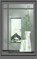 Bamboo and green mountains by rockgem