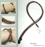 Copper and Leather Knitted Bracelet by pecatrix