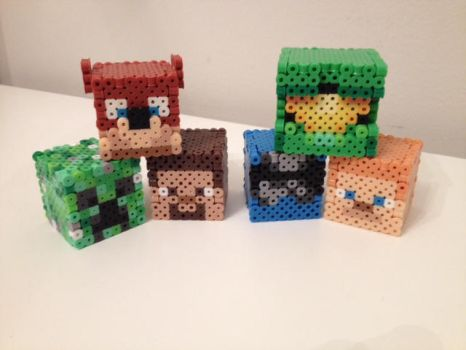 Achievement Hunter Perler Heads by RetroNinNin