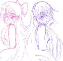 Chikane and Himeko Sketch by Tentacuddles