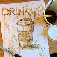 Coffee Painting: Drink Up by OdieFarber