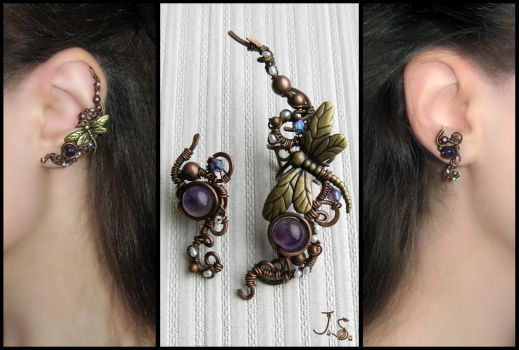 Garden of dragonflies ear cuff and stud by JuliaKotreJewelry