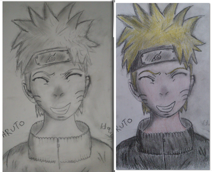 Naruto - Smile! With and without color. by Ulqui92Soul