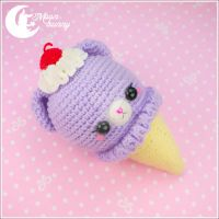 Crochet ice-cream bear Poni-poni (lilac) Toy by CuteMoonbunny