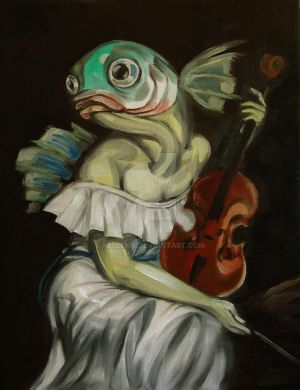 Seated Fish With Violin by ellemrcs