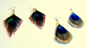 Beaded Peacock Earrings by Craftcove