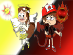 Gravity Falls-Demon Dipper and Mabel Angel by FlyingBook