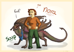 Nora and Soup by drosera-sundews