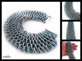 Ice Blue Dragonscale Bracelet by coldfirecustoms