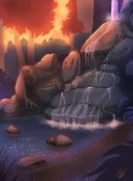 Evening waterfall by RexKing