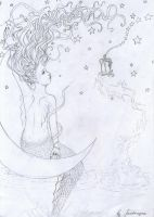 Moonlight mermaid.Sketch. by fantazyme