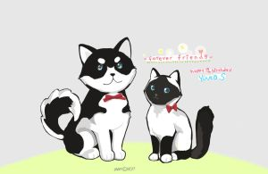 White black Cat and Dog by KPJ11
