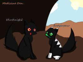 Blacknight and Badgerpaw by XxQueenofChaosxX